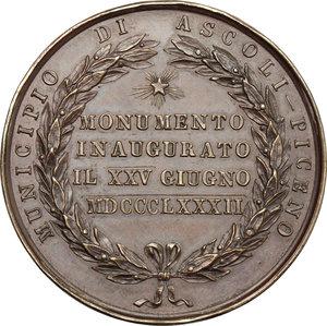 reverse: Casa Savoia.  Vittorio Emanuele II (1849-1861).. Medaglia 1825 Giugno 1882, per l inaugurazione del monumento a Vittorio Emanuele II ad Ascoli Piceno