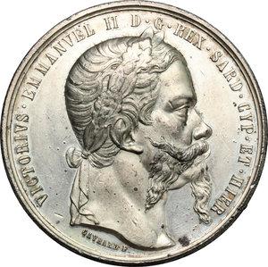 obverse: Casa Savoia.  Vittorio Emanuele II (1849-1861).. Medaglia 1859, ricorda le parole del proclama rivolto da Vittorio Emanuele II al popolo per annunciare l Alleanza franco-piemontese e l inizio della guerra