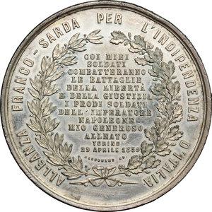 reverse: Casa Savoia.  Vittorio Emanuele II (1849-1861).. Medaglia 1859, ricorda le parole del proclama rivolto da Vittorio Emanuele II al popolo per annunciare l Alleanza franco-piemontese e l inizio della guerra