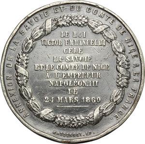 reverse: Casa Savoia.  Napoleone III (1852-1870).. Medaglia 1860 per il trattato di Torino 1860, cessione della Savoia e della contea di Nizza alla Francia