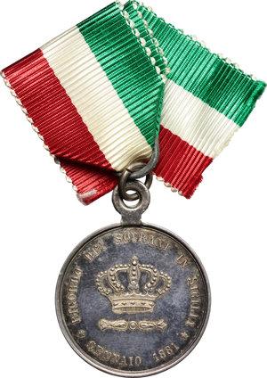 reverse: Casa Savoia.  Margherita di Savoia (1851-1926). Medaglia 1881, ricordo dei sovrani in Sicilia