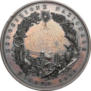 reverse: Casa Savoia.  Umberto I (1878-1900).. Medaglia 1881, per l Esposizione Nazionale di Milano
