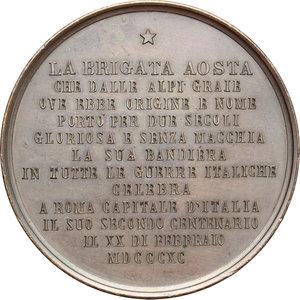 reverse: Casa Savoia.  Umberto I (1878-1900).. Medaglia 1890, per il bicentenario della Brigata Aosta