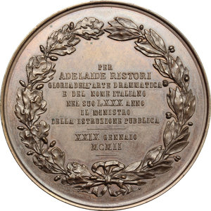 reverse: Casa Savoia.  Vittorio Emanuele III (1900-1943). Medaglia 29 Gennaio 1902, per l ottantesimo compleanno dell attrice Adelaide Ristori