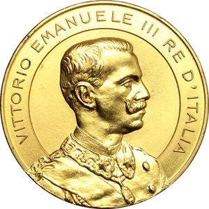 obverse: Casa Savoia.  Vittorio Emanuele III (1900-1943). Medaglia 1908, per l Esposizione Internazionale delle Industrie e delle Produzioni tenutasi a Genova