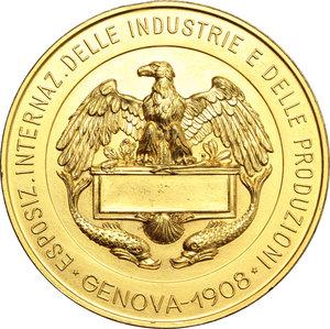 reverse: Casa Savoia.  Vittorio Emanuele III (1900-1943). Medaglia 1908, per l Esposizione Internazionale delle Industrie e delle Produzioni tenutasi a Genova