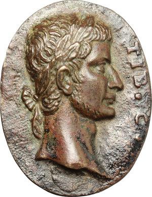 obverse: Tiberio (14-37).. Placchetta ovale, XVII sec