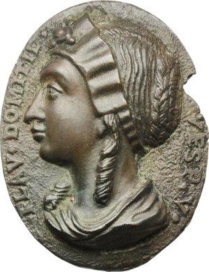 obverse: Flavia Domitilla, moglie dell imperatore Vespasiano. Placchetta unifacie a sbalzo, XVIII sec