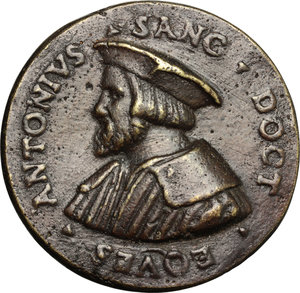 obverse: Antonio Santi (XVI sec.), medico. Medaglia, secondo quarto del XVI secolo