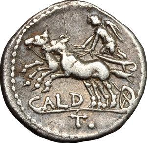 reverse: C. Coelius Caldus. . AR Denarius, 104 BC