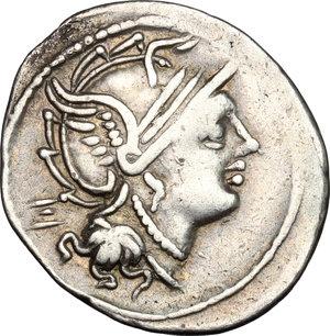 obverse: M. Servilius C.f. . AR Denarius, 100 BC