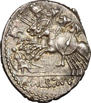 reverse: A. Albinus Sp.f.. AR Denarius, 96 BC