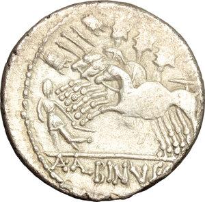 reverse: A. Albinus Sp. f.. AR Denarius, c. 96 BC
