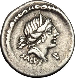 obverse: D. Junius Silanus L.f.. AR Denarius, 91 BC