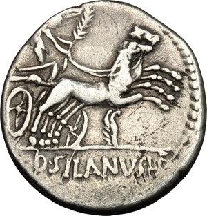 reverse: D. Junius Silanus L.f.. AR Denarius, 91 BC