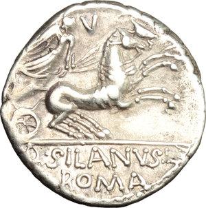 reverse: D. Junius Silanus L. f.. AR Denarius, 91 BC