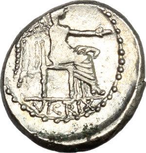 reverse: M. Cato.. AR Quinarius, 89 BC