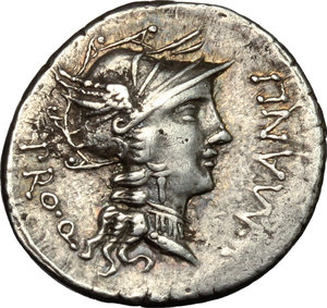 obverse: L. Manlius Torquatus.. AR Denarius, 82 BC