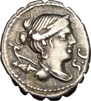 obverse: Ti. Claudius Ti. f. Ap. n. Nero.. AR Denarius serratus, 79 BC