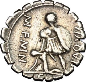 reverse: Mn. Aquillius Mn. f. Mn. n.. AR Denarius serratus, 71 BC