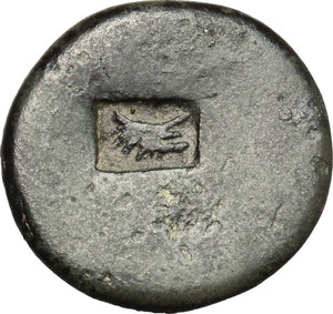 reverse: Nero to Hadrian. A group of six AE, mostly Palestinian, countermarked by the Legio X Fretensis. Titus (79-81) to Hadrian (117-138).. Judaea, Uncertain. AE 19 mm. countermarked at Sebaste or Jerusalem, c. 80-132 AD