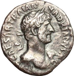 obverse: Hadrian (117-138).. AR Quinarius, 118 AD