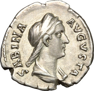 obverse: Sabina, wife of Hadrian (died 137 AD).. AR Denarius, c. 134-136 AD
