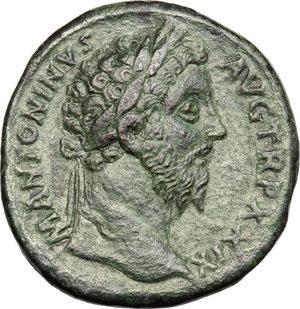 obverse: Marcus Aurelius (161-180).. AE Sestertius, 174-175 AD