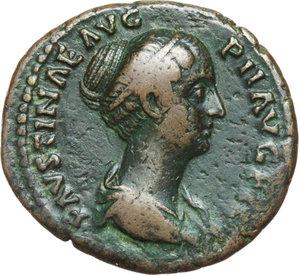 obverse: Faustina II, wife of Marcus Aurelius, daughter of Antoninus Pius and Faustina senior (died in 176 AD).. AE As, struck under Antoninus Pius