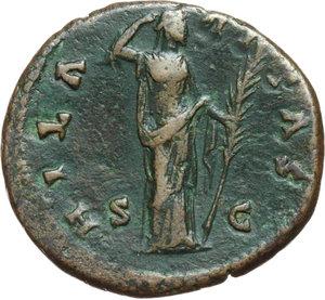 reverse: Faustina II, wife of Marcus Aurelius, daughter of Antoninus Pius and Faustina senior (died in 176 AD).. AE As, struck under Antoninus Pius