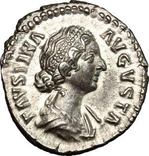 obverse: Faustina II, wife of Marcus Aurelius (died 176 AD).. AR Denarius