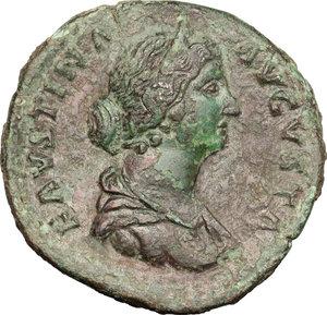 obverse: Faustina II, wife of Marcus Aurelius (died 176 AD).. AE Sestertius