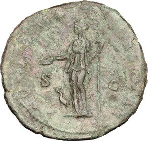 reverse: Faustina II, wife of Marcus Aurelius (died 176 AD).. AE Sestertius