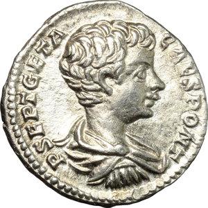 obverse: Geta as Caesar (198-209).. AR Denarius
