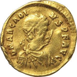 obverse: Arcadius (383-408).. AV Tremissis, 397-402 AD. Constantinople mint