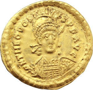 obverse: Theodosius II (402-450).. AV Solidus, 441-450. Constantinople mint