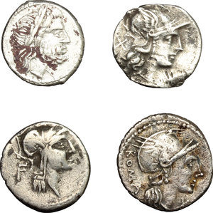 D/ Roman Republic. Multiple lot of four (4) AR coins: Anonymous AR 'Denarius' Cr. 53/2, g. 2,31; probably unofficial issue or ancient forgery. Anonymous MP ligate fourrée Victoriatus, Cr. 93/1a, g. 3,26. Flaminius Chilo, AR Denarius, Cr. 302/1, g. 3,74. D. Silanus, AR Denarius, Cr. 337/3, g. 3,86.     AR.      F:VF.