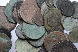D/ Roman Empire. Multiple lot of fifty (50) unclassified AE Roman Imperial coins.     AE.      Fair:About F.