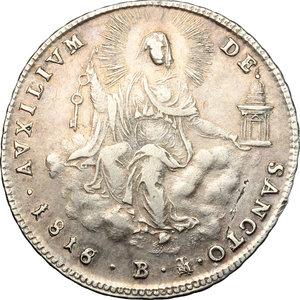 reverse: Bologna.  Pio VII (1800-1823). Doppio giulio 1818 (8 ribattuto su 6)
