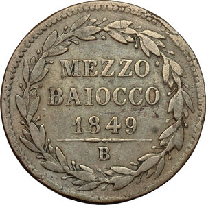 reverse: Bologna.  Pio IX  (1846-1878). Mezzo baiocco 1849 B A.IIII