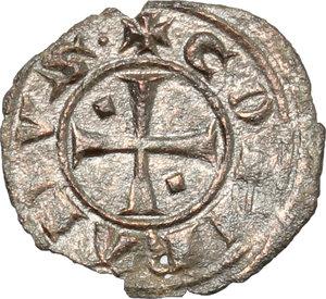 obverse: Brindisi.  Corrado I (1250-1254).. Mezzo denaro con piccolo romboide nel 1° e 4° quarto della croce al D/