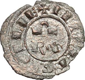 reverse: Brindisi.  Corrado I (1250-1254).. Mezzo denaro con piccolo romboide nel 1° e 4° quarto della croce al D/