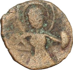 obverse: Capua.  Anfuso, Principe (1135-1144).. Follaro con San Demetrio e scritta pseudo cufica (1135-1144)