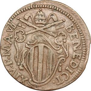 obverse: Ferrara.  Benedetto XIV (1740-1758). Mezzo baiocco 1747