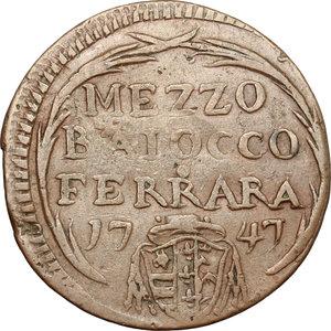 reverse: Ferrara.  Benedetto XIV (1740-1758). Mezzo baiocco 1747