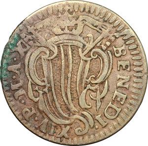obverse: Ferrara.  Benedetto XIV (1740-1758). Mezzo baiocco A. X