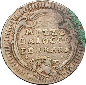 reverse: Ferrara.  Benedetto XIV (1740-1758). Mezzo baiocco A. X