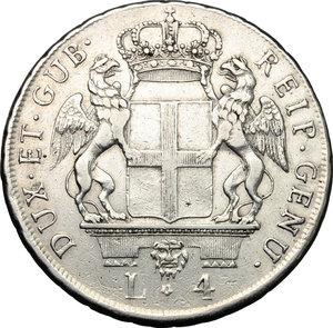 obverse: Genova.  Dogi Biennali (1528-1797).. Da 4 lire 1795