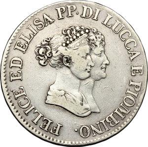 obverse: Lucca e Piombino.  Elisa Bonaparte e Felice Baciocchi (1805-1814).. 5 franchi 1805