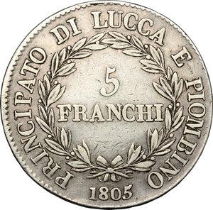 reverse: Lucca e Piombino.  Elisa Bonaparte e Felice Baciocchi (1805-1814).. 5 franchi 1805